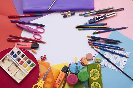 selection of art and craft materials