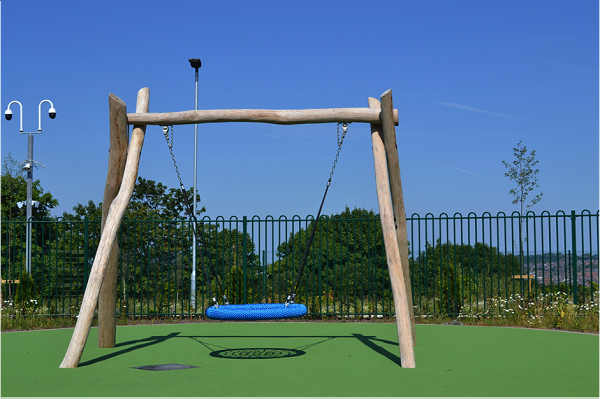 Large wooden framed swing