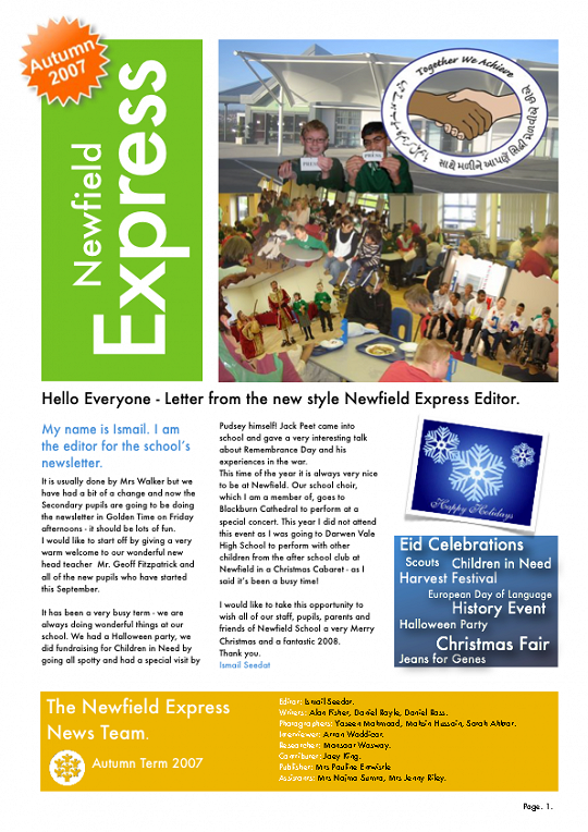 Newfield Newsletter Autumn 2007