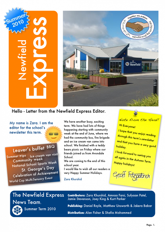 Newfield Newsletter Summer 2010
